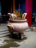 Thiên Hậu Temple. A big jar with incense burners in the courtyard of Thiên Hậu Temple (Saigon, Vietnam Stock Images