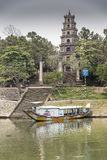 Thiên Mụ Pagoda Hue Hanoi. Thiên Mụ Pagoda (Vietnamese: Chùa Thiên Mụ; also called Linh Mụ Pagoda) is a historic temple in the city of Huế in Stock Photo