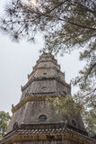 Thiên Mụ Pagoda. (Vietnamese: Chùa Thiên Mụ; also called Linh Mụ Pagoda) is a historic temple in the city of Huế in Vietnam. Its pagoda has seven Royalty Free Stock Photography