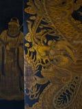 Thian Hock Keng Temple. Door with golden dragon painting in Thian Hock Keng Temple royalty free stock image