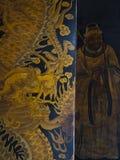 Thian Hock Keng Temple. Door with golden dragon painting in Thian Hock Keng Temple royalty free stock photos