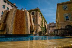 Thiars square in Marseille. The Thiars square in Marseille with its fountain Royalty Free Stock Photos