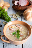 Thick bean soup with traditional sausage Stock Photo