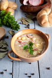 Thick bean soup with traditional sausage Royalty Free Stock Image