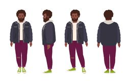 Thick bearded african american man dressed in jeans and jacket. Fat male cartoon character with afro hairstyle and beard. Isolated on white background. Front royalty free illustration