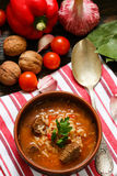 Thick beef soup with rice, tomatoes, carrots, peppers, walnuts and spices. Kharcho soup. A traditional dish of Georgian cuisine. Royalty Free Stock Photo
