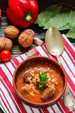 Thick beef soup with rice, tomatoes, carrots, peppers, walnuts and spices. Kharcho soup. A traditional dish of Georgian cuisine. Stock Photos