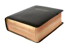 Thick Bible. A black Bible focus on nearest corner Royalty Free Stock Photos