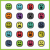 Thick black line colorful square emoticons and icons set Stock Photo