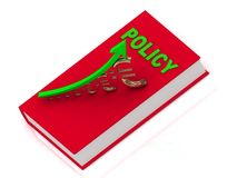 Thick book in red cover with inscription policy Royalty Free Stock Photo