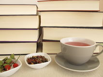 Thick books and a cup of tea. For leisure time royalty free stock image