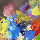 Bright colorful acrylic and oil paint strokes Stock Image