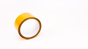 Thick brown plastic tape in white big core Stock Photos