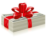 Thick bundle of dollars. Tied a red ribbon with a bow, the concept of success,  editable Royalty Free Stock Photo