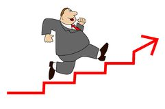 Thick business man hurries upwards on a stair Royalty Free Stock Image