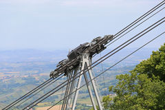 Thick cables and pulleys for the Transportation cableway Stock Photography