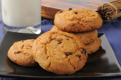 Thick chocolate chip cookies and milk Stock Image