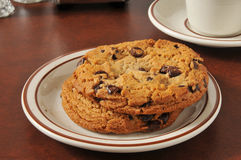 Thick chocolate chip cookies Royalty Free Stock Images