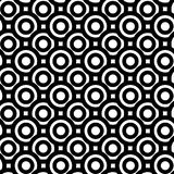 Thick circles monochrome seamless background. Black and white thick circles inside circles donuts. Geometric seamless tile background Stock Images