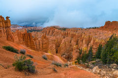 Thick Clouds covering Peek-a-boo loop trail Bryce Canyon Stock Photography
