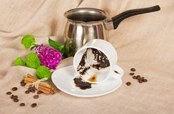 Thick coffee in a cup, the Turk, grains Royalty Free Stock Image
