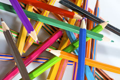 Thick colored pencils on white background Stock Photo