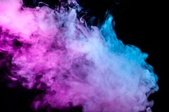 A thick column of smoke from a pair of vape on a dark background, illuminated by blue and purple stock illustration