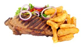 Sirloin Steak And Chips Meal Royalty Free Stock Photos