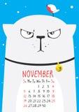 Thick cute gray cat wearing a collar with a little bird on the head. November calendar Stock Photos