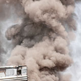 Thick dark smoke. In a fire Stock Photography