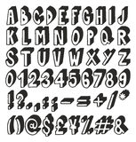 Thick Doodle Handwritten 3D Alphabet, Numbers & Signs with Marker Pen Stock Photo