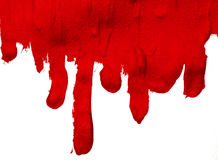 Thick drips of red paint stock image