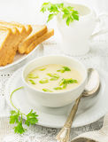 Thick egg soup with chicken broth Royalty Free Stock Photo