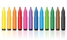 Thick Felt Tip Pens Colorful Set Stock Photos