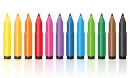Thick Felt Tip Pens Colorful Set. Thick felt tip pens, colorful set, upright standing in a row -  vector illustration on white background Stock Photos
