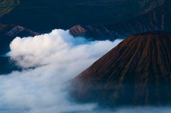 Thick Fog Around the Mountains of Volcano Bromo Stock Photography