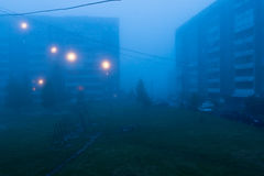 Thick fog in city at night Stock Image