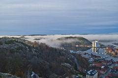 Thick fog in halden harbor and iddefjord Royalty Free Stock Photography