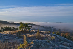 Thick fog in iddefjord Royalty Free Stock Photo