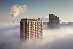 Thick fog in the Moscow area. In the morning Royalty Free Stock Photography