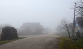 Thick fog in November Royalty Free Stock Photo