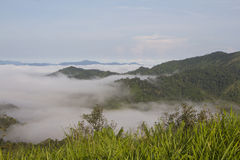 Thick fog in the valley Stock Photo