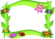 Thick Frame with Flowers and Bugs Stock Photography