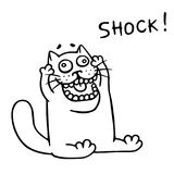 Thick funny cat in shock. Vector illustration. Cartoon animal character Stock Images