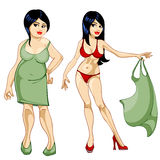 Thick girl in a dress and a thin girl in a bathing suit Royalty Free Stock Photo
