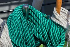 Thick green ropes. royalty free stock photography