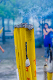 Thick incense sticks at a Buddhist temple Stock Photos