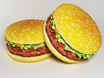Thick juicy burgers, rendering Royalty Free Stock Photo