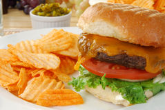Thick juicy hamburger Royalty Free Stock Image