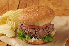 Thick juicy hamburger Royalty Free Stock Photos